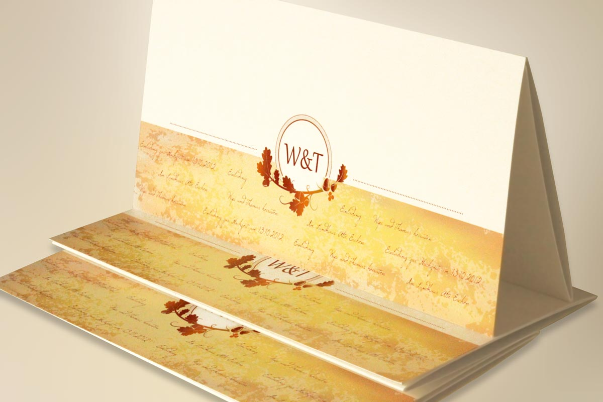 Einladungskarte zur Hochzeit, Wickelfalz